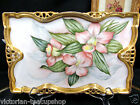 BAVARIA GERMANY STUNNING VANITY TRAY WITH SUPER PAINTED FLOWERS