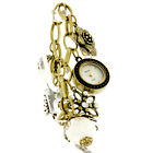 Decade Ladies Antiqued Gold Tone Crystal & Pearl Charm Bracelet Watch 14353