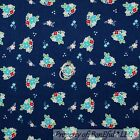 BonEful Fabric FQ Flannel Cotton Quilt Navy Blue Red White FLOWER French Country