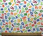 SNUGGLE FLANNEL ALPHABET LETTERS Multi Color White 100 Cotton Fabric NEW BTY