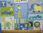 SNUGGLE FLANNEL BABY ANIMALS ALPHABET BLOCKS BLUE 100 Cotton Fabric BTY
