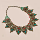 TIBETAN TURQUOISE WITH RED CORAL ANTIQUE FRIENDSHIP GIFT .925 SILVER NECKLACE