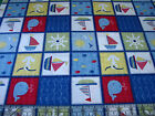 3 Yards Quilt Cotton Fabric - Springs Ships Ahoy Nautical Sea Squares