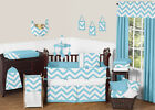 SWEET JOJO TURQUOISE BLUE WHITE CHEVRON ZIGZAG BABY BOY OR GIRL CRIB BEDDING SET