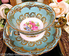 FOLEY TEA CUP AND SAUCER BLEU AND FLORAL PATTERN TEACUP ROSES TULIPS