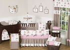 UNIQUE DISCOUNT PINK AND BROWN MOD ELEPHANT DESIGNER BABY GIRL CRIB BEDDING SET