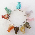 8Pcs Unique Carved Mixed Gemstone Angel Pendant bead 20x15x6mm N-04