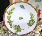 LIMOGES FRANCE HANDPAINTED PLATE ARTIST SIGNED FOLIAGE & ACORN PATTERN PLATE