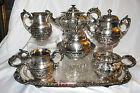 ANTQ DERBY SILVER Co EMBOSSED QUADRUPLE PLATE TEA COFFEE SET 7 pcs OLD SHEFIELD