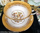 ELIZABETHAN TEA CUP AND SAUCER VERSAILLES PATTERN YELLOW TEACUP