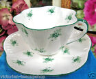 SHELLEY TEA CUP AND SAUCER green roses   PATTERN DAINTY SHAPE TEACUP RARE
