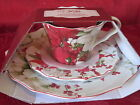 222 FIFTH WINTER HARMONY POINSETTIA HOLIDAY CHRISTMAS 3PC SET CUP SAUCER PLATE