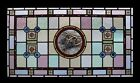 Stunning Rare Painted Birds Adorned With Rondels Antique Stained Glass Window
