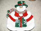 VTG FITZ & FLOYD CHRISTMAS ~ SNOWMAN ~ CANAPE SANTA COOKIES CANDY EVE PLATE TRAY
