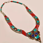 ANTIQUE TURQUOISE WITH RED CORAL & LAPIS LAZULI .925 SILVER NECKLACE ANP- 916