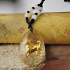 Gold Filled Horse in Oval MURANO GLASS Pendant and Black Rope Adjustable A4665