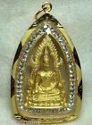 BEAUTIFUL GOLDEN GOLD HOLY BUDDHA COLLECTION WITH CZ GEM STONE THAI AMULET RARE