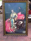 VINTAGE ORIGINAL BULLFIGHTER MATADORE OIL PAINTING SIGNED LARGE 60S OIL PAINTING