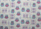 SNUGGLE FLANNEL SOUTHWEST OWLS on OFF WHITE100 Cotton Fabric NEW BTY
