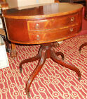 VINTAGE DUNCAN PHYFE LAMP TABLES (PAIR) - OVAL TOPS w/INLAY - 2-DRAWER FRONT
