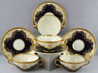 #1 ESTATE DINNERWARE 4 SETS BLACK KNIGHT HOHENBERG BOUILLON CUPS REGINA COBALT