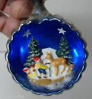 Vintage Italy Scene Glass Christmas Ornament ELF WITH DEER