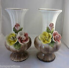 VINTAGE CAPODIMONTE ITALY LARGE HAND PAINTED MANTLE VASE PAIR