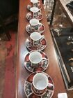 Set Of Six Vintage Japanese Imari Style Porcelain Demitasse Cups And Saucers Set