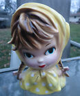 Vintage INARCO head vase headvase Girl in yellow pigtails braids Japan E-2523