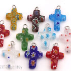 10PCS Mixed Floral Cross Glass Charms Pendants 20x12mm Craft Jewelry DIY
