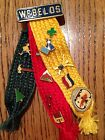 Vintage WEBELOS Boy Scouts BSA Three Ribbon Pin w/ 14 Merit Badge Pins