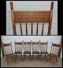 Set of 6 Chairs Carved Rose Press Back Solid Wood Seat Antique Vintage Fancy OLD