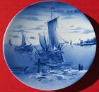 Made in Germany Blue White Charger Wall Plaque Ships Fishing Windmill Sailboats