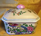 Signed Chinese Hand Painted Porcelain Lid Jar/Box w Phoenix Bird/Chrysanthemum