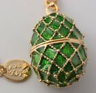 Faberge Easter Egg Necklace wite crystals Keren Kopal gold plated pendant charm