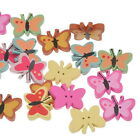50PCs Mixed Wooden Buttons Sewing Scrapbooing Crafts 2 Holes Butterfly Shaped