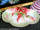LIMOGES FRANCE PAINTED CURRANTS TRAY ADN FLOWER HANDLE