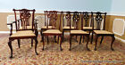 Fine Set Of 8 Mahogany Chippendale Style 19th Century Dining Room Chairs c1890