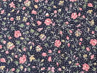 Country Florals by Joan Kessler for Concord BTY Pink Tan Calico Flowers on Navy