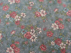 Country Florals by Joan Kessler for Concord BTY Pink Blue Calico on Dusty Blue