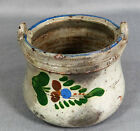 ANTIQUE REDWARE GLAZED POTTERY HAND-PAINTED CROCK FLOWER POT COOKIE JAR 4