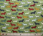 SNUGGLE FLANNELMULTI COLOR DACHSHUND DOGS on OLIVE GREEN Cotton FabricNEWBTY