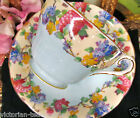 AYNSLEY TEA CUP AND SAUCER LILAC & PASTEL BLUE TEACUP PATTERN FAT CORSET SHAPE