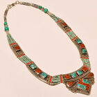 TIBETAN TURQUOISE WITH RED CORAL VERY NICE .925 SILVER NECKLACE ANP- 2012