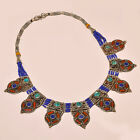 TIBETAN TURQUOISE WITH RED CORAL & LAPIS LAZULI .925 SILVER NECKLACE ANP- 2233