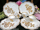 FRANCE TEA CUP AND SAUCER SNACK PLATE SET OF 4 GOLD GILT ROSES TEACUP