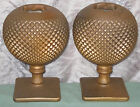 OOAK UNIQUE Vintage RUSTY IRON LOOK IVY BALL Pair Painted Hobnail Glass Old Vase