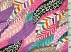 1 yard Snuggle FLANNEL Pink Aqua Purple Brown White Feathers BTY