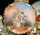 LIMOGES FRANCE COURTING COUPLE ARTIST SIGNED PLATE CHARGER LOVE STORY