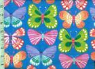 1 yard Snuggle FLANNEL Colorful Butterflies on Blue BTY